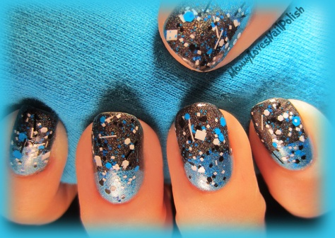 """Splitter Splatter"" over holographic blue and grey."