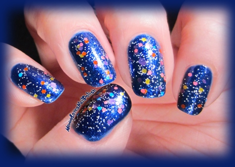 Snow Globe over deep blue base color.