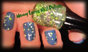 Lettuce Leaf over soft blue base polish.