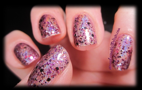Extreme Palpitations over pink holographic polish